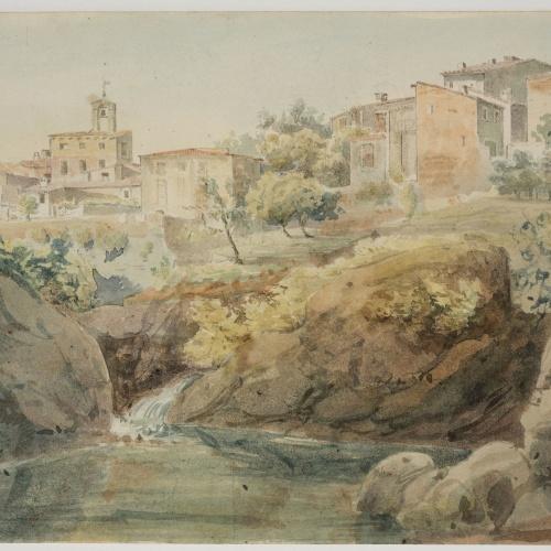 Adolphe Hedwige Alphonse Delamare - View of Caldes de Montbui - Thursday, June 21, 1827