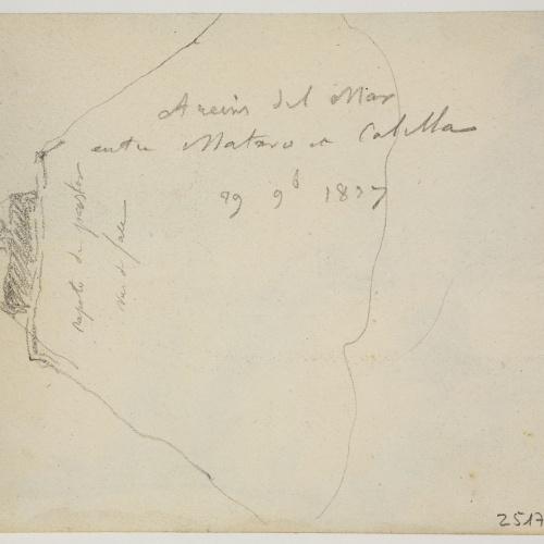 Adolphe Hedwige Alphonse Delamare - Lighhouse of Arenys de Mar Sketch - November 29, 1827