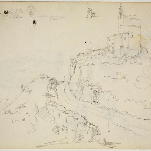 Adolphe Hedwige Alphonse Delamare - Landscape of Sant Pol de Mar with the Sant Pau Chapel - November 1827