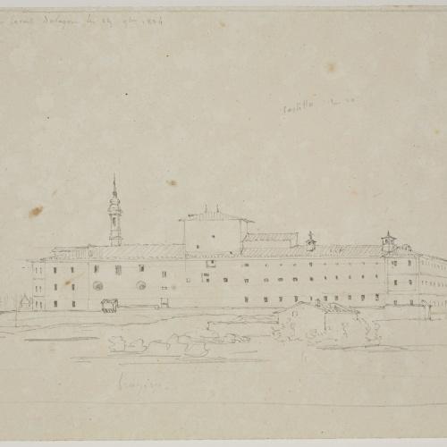 Adolphe Hedwige Alphonse Delamare - Vista del castell de Saragossa des de l'Ebre - 19 novembre 1824