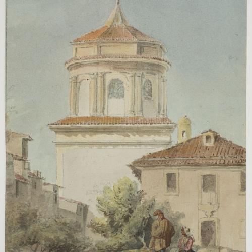 Adolphe Hedwige Alphonse Delamare - Vista de l'església de l'hospital a Vitòria - 8 novembre 1824