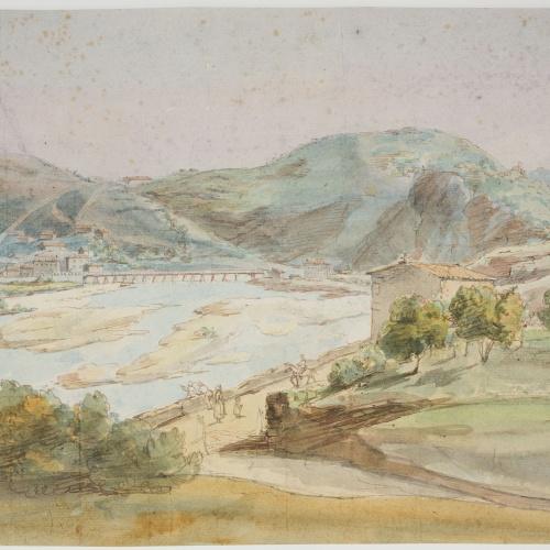 Adolphe Hedwige Alphonse Delamare - Vista de Behobia i del pont del Bidasoa - Diumenge 24 d'octubre de 1824