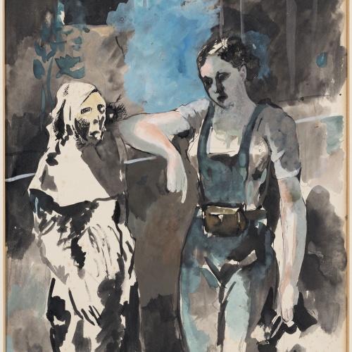 Pere Pruna - Trobada d'una miliciana amb la mort - Cap a 1936-1939