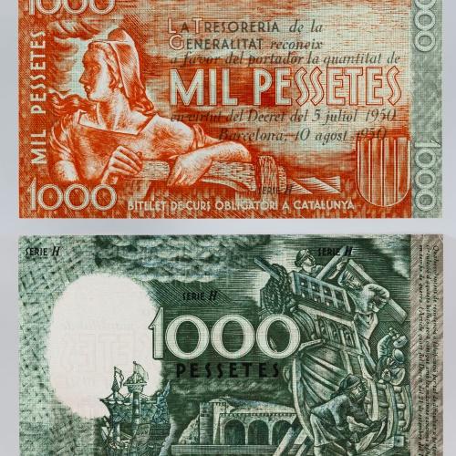 Generalitat de Catalunya - 1000 pessetes (proves no adoptades) - 1936-1937 (1950)