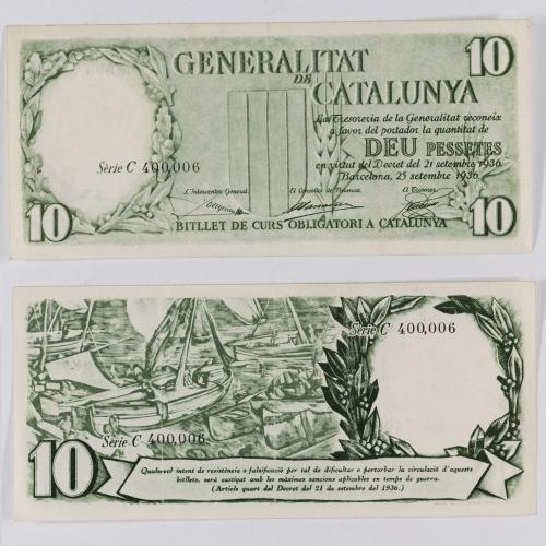 Generalitat de Catalunya - 10 pessetes - 25.09.1936