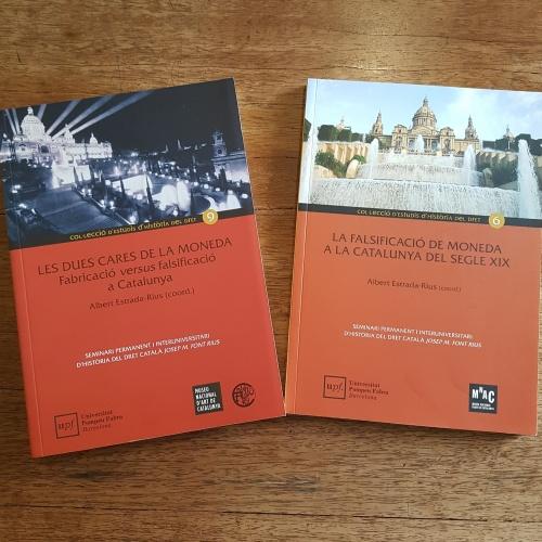 Portades publicacions: La falsificació de moneda a la Catalunya del segle XIX i Les dues cares de la moneda. Fabricació versus falsificació a Catalunya